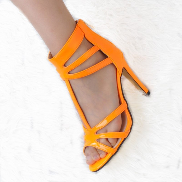 2018 Beautiful fashion free shipping,patent leather fabric, 11 cm high-heeled sandals, women's sandals. SIZE:34-45