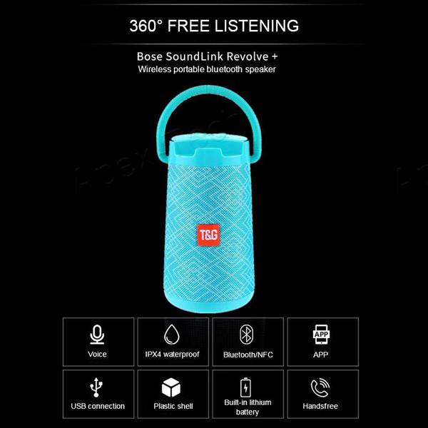 Tragbare drahtlose Bluetooth-Lautsprecher 360 Grad Doppelhorn wasserdichte Lautsprecher Handy Halterung Stoff Lautsprecher Box