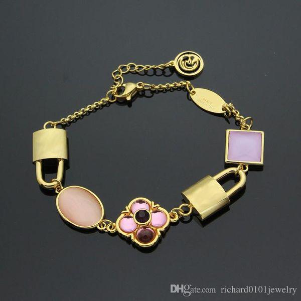 18K Gold four leaf flower agate Bracelets with double locks design Titanium Steel Pink agate five flowers lucky Bracelet for women bracelets