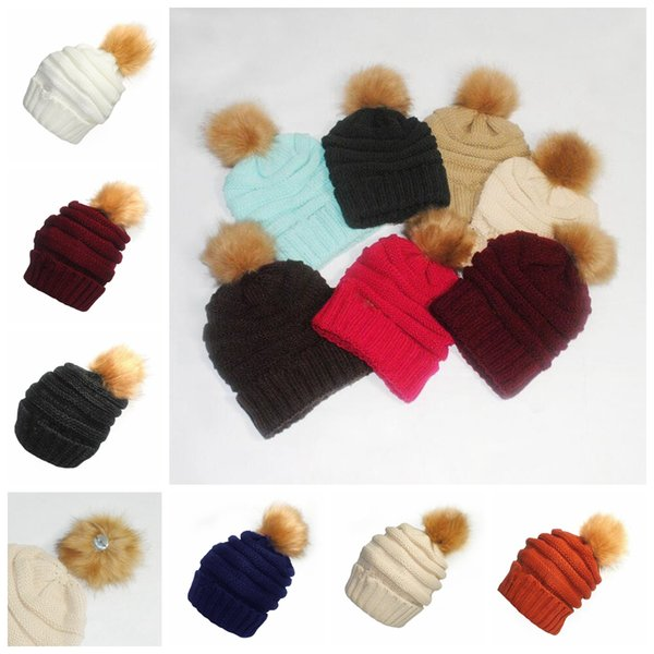 664a9090e51a8 Pom Pom Skullies Beanies Women Winter Cap Faux Fur Pompom Beanie Knitted  Hats 17 Colors OOA3385