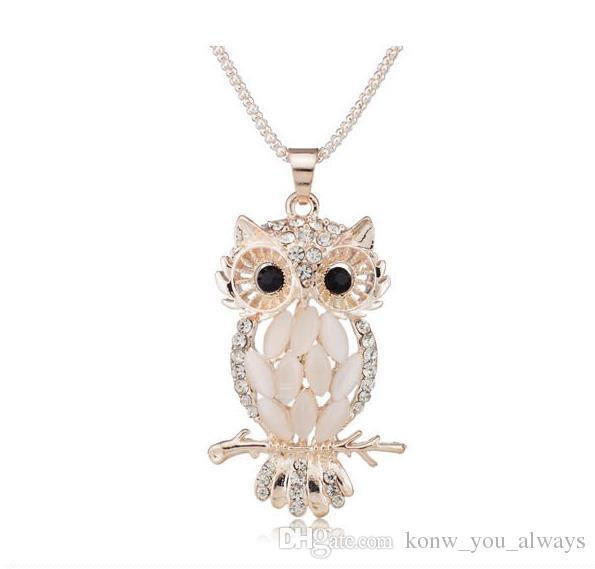 Stylish Gallant Sparkling Owl Crystal Charming Flossy Necklaces & Pendants Necklace For Women