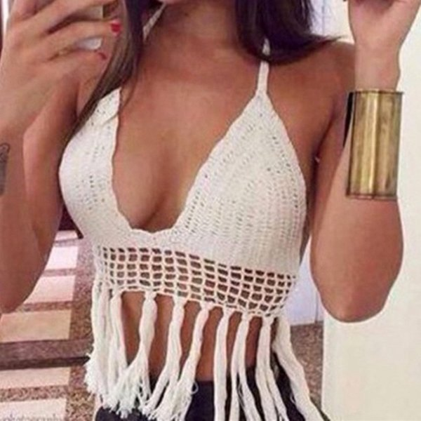 Women's summer boho sexy tassel crochet crop tops cami halter handmake knit bikini swimwear beach camisoles tanks blouse bras