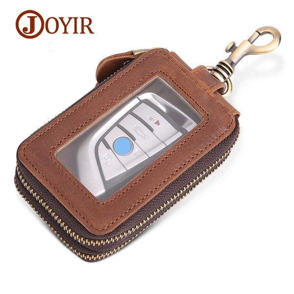 Wholesale Vintage Genuine Leather Key Wallet Men Keychain Covers Zipper Car Key Case Bag Men Key Holder Housekeeper Keys Organizer K033