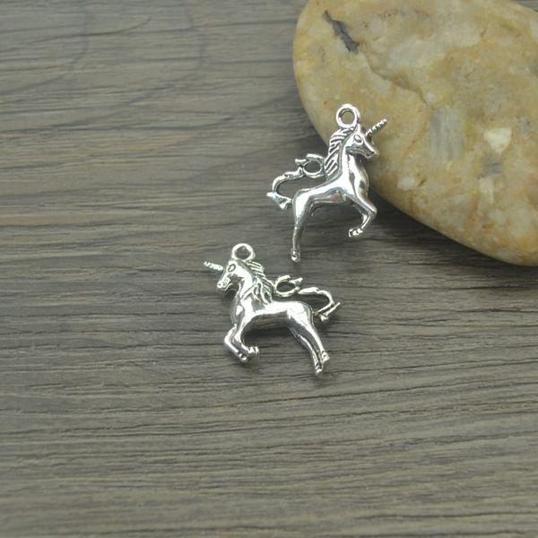 Encantos cavalo animal de metal, Antique Fazendo pingente em forma, Vintage prata Tibetano, jóias DIY pulseira colar 27 * 17mm 10 pcs