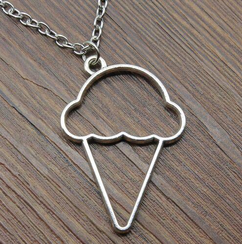 20pcs/lot Fashion Necklace Antique Silver Vintage Ice Cream Metal Frame Charms Pendants Chain Necklace 42+5cm