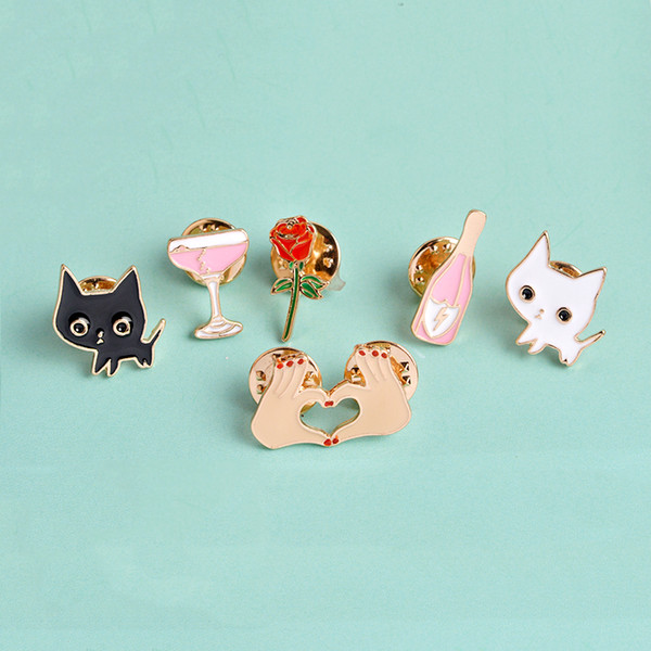 QIHE JEWELRY 1 Set Champagne Coupe Saucer Rose Flower Heart Shape Cat Women Jewelry Lapel Pins Clothing Accessories haif