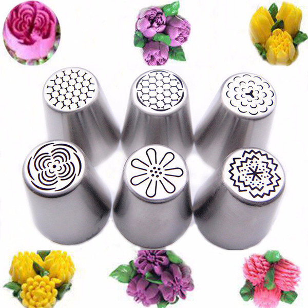 6PCS Russian Tulip Flower Cake Icing Piping Pastry Tips Nozzles Cupcake Cake Decorating Tools Baking Tool