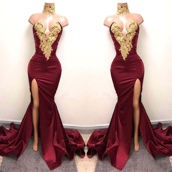 2K18 Sexy Burgundy Prom Dresses with Gold Lace Appliqued New Design Mermaid Side Split For 2018 Satin Long Party Evening Wear Gowns