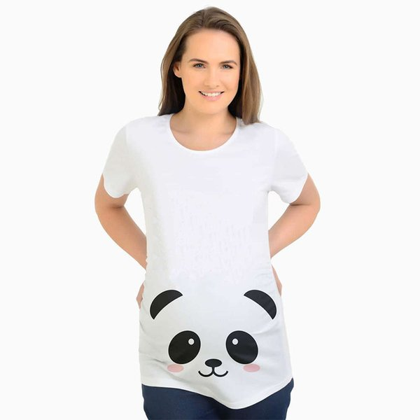 New maternity tops pregnancy clothes cute panda printed t-shirts tees for pregnant women white shirt casual maternity clothing