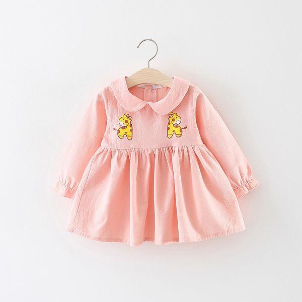 2018 Robe Infantil Baby Girl Dress Enfants Automne Robe Bébé Fille Dessin Animé 0-3 Ans Enfant Manches Longues Revers Princesse
