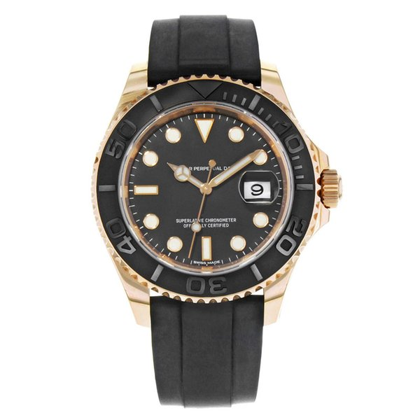 New Mens Sapphire Glass Wristwatches YachtMaster 116655 Black Dial Rose Gold Automatic Mens Watch 40mm Automatic Movement Wristwatches