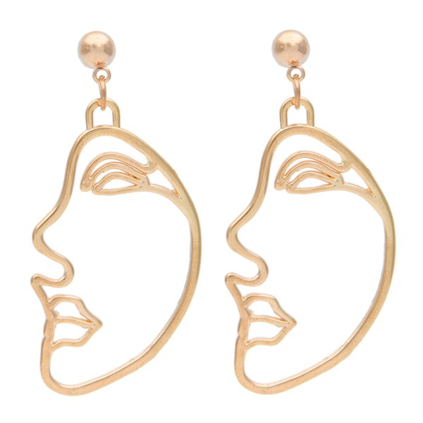 Fashion Abstract Hollow Out Face Dangle Earrings For Women Statement Long Drop Earrings Jewelry boucles d'oreilles