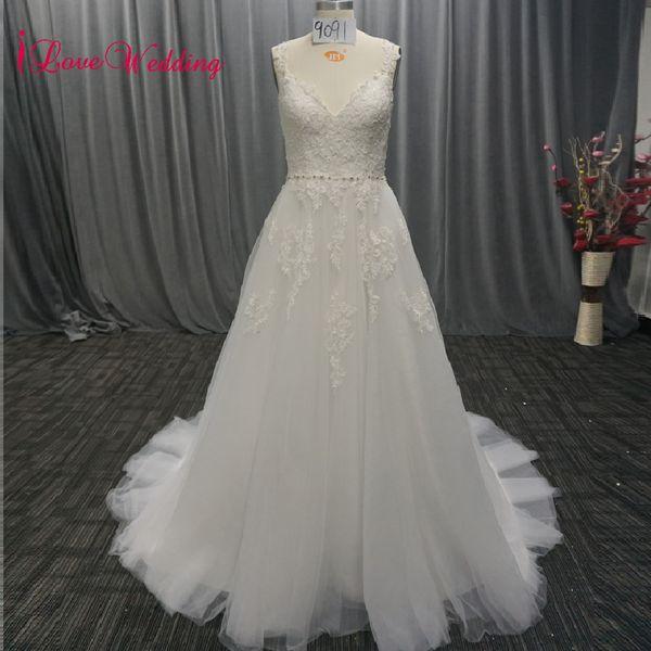 wholesale 2018 Most Beautiful Bohemian Wedding Dress A Line Lace Formal Bridal Women Wedding Gown Robe Mariage