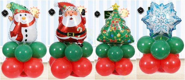 Christmas Set.Christmas Decorations Xmas Small Inflatable Aluminum Balloon Column Set Store Hotel Party Santa Snowman Tree Road Lead Prop Christmas Decor Online