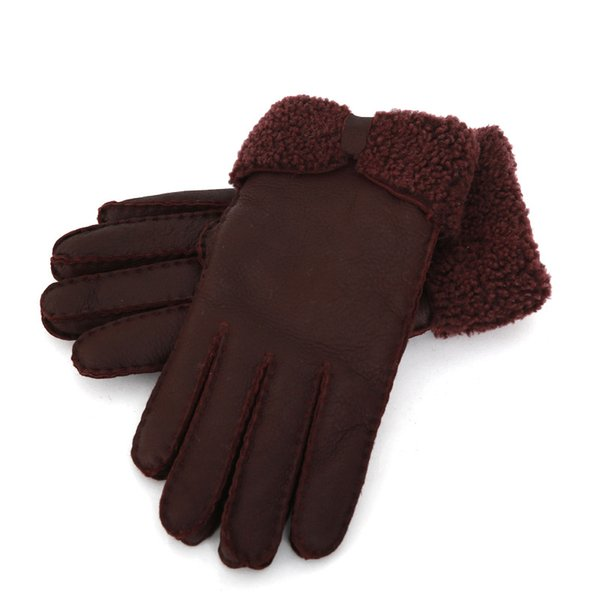 Wholesale - New Warm winter ladies leather gloves real wool women 100% free shipping