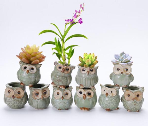 100 pcs Belle Jardin Pot Respirant Animal Hibou Céramiques Flowerpots Anti Usure Corrosion Résistant Mini Jardinières livraison gratuite
