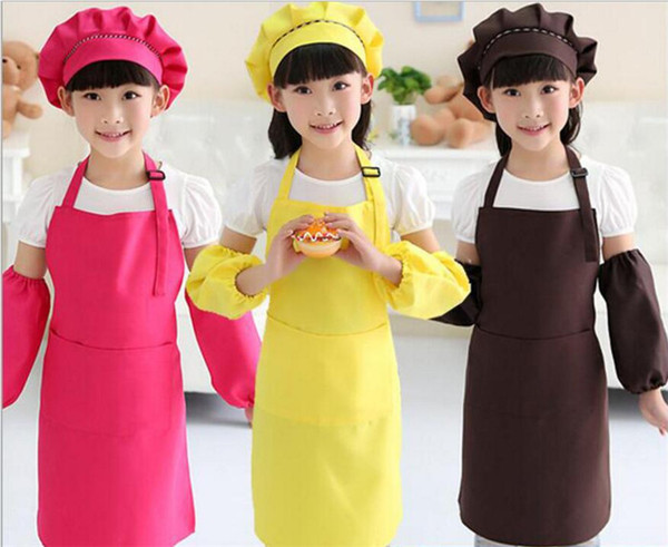 best selling Kids Aprons Pocket Craft Cooking Baking Art Painting Kids Kitchen Dining Bib Children Aprons Kids Aprons 10 colors Free Shipping TO677