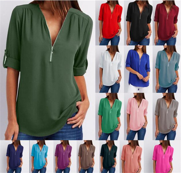 best selling 60pcs Chiffon Blouse Shirts Zipper V Neck Pleated Loose Casual plus size Summer Half Sleeve Fashion Tops M278