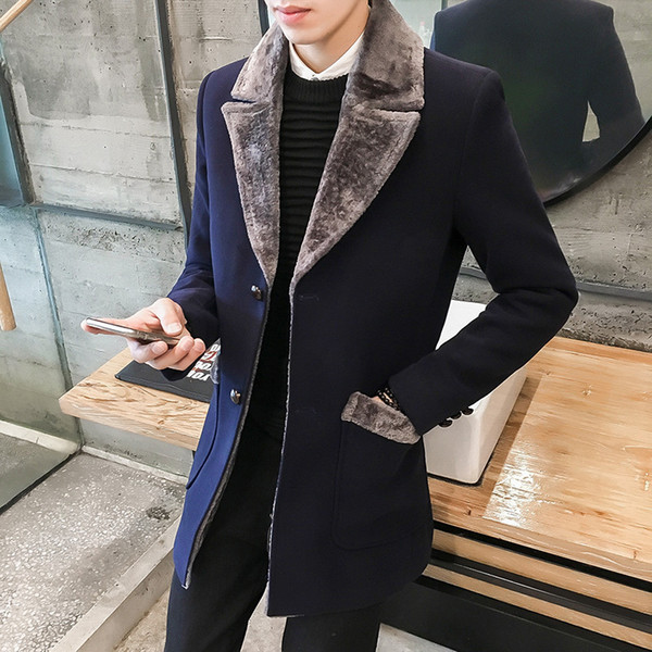 Fur Collar Trench Coat Men Wool Blend Winter Coat Slim Fit Men Manteau Homme Mid-Long Black Grey Mens Trench Blue S~5XL