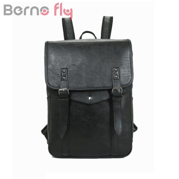 BERNOFLY Brand Vintage PU Leather Men Backpack Large Capacity Laptop Bag pack Man Travel Bag School Backpacks For Teenagers