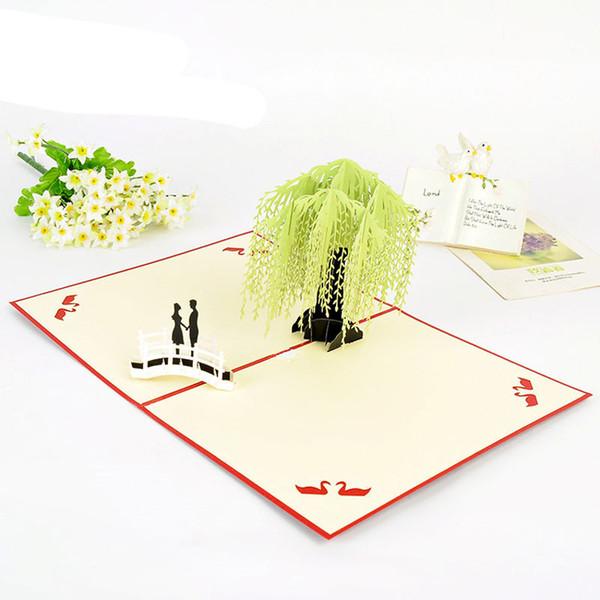 Compre Willow Bridge Lover Kirigami Origami 3d Pop Up Tarjeta De Invitación Para La Boda De Cumpleaños De Navidad Tarjetas De Felicitación Del Día De