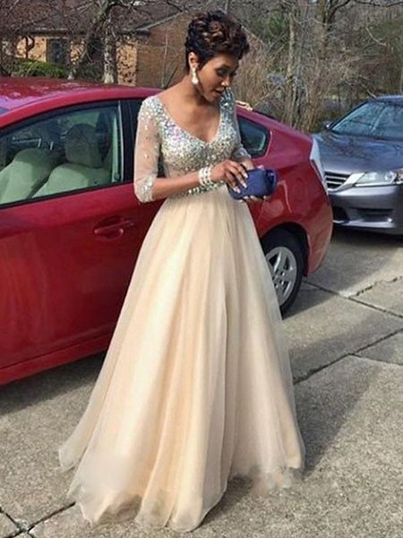 Champagne Cheap Prom Dress Long With Half Sleeves V neck Sparkly Crystal Rhinestones Tulle A line Pleated Long Evening pageant Dresses