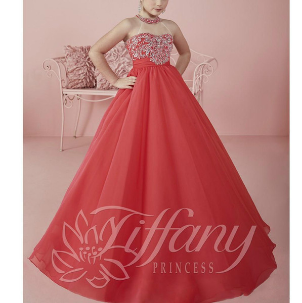Coral Beads Crystal Sequins Long Flower Girl Dress 2018 Little Girls Pageant Dresses Ball Gown Flower Girls Formal Tutu Party Dress for Kids