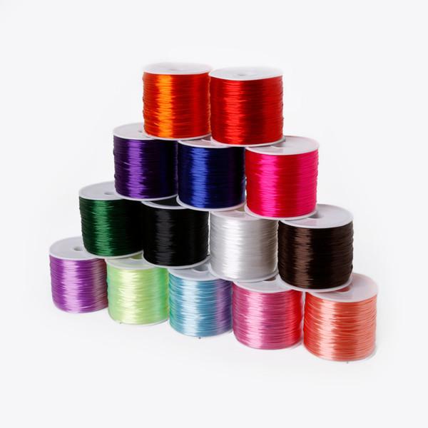 60 Metre 0.7mm Renkli Kristal Boncuk Streç Kordon Elastik Dize Bilezik Kolye Tel Takı Yapımı Için Toptan DIY Aksesuarları