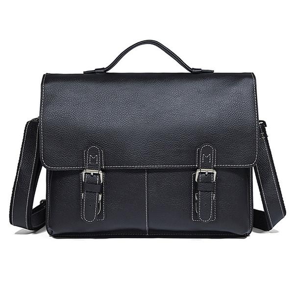 Nesitu Vintage Black Brown Durable Thick Genuine Leather Men's Briefcase Men Messenger Bags 14'' Laptop Portfolios Handbag M7090