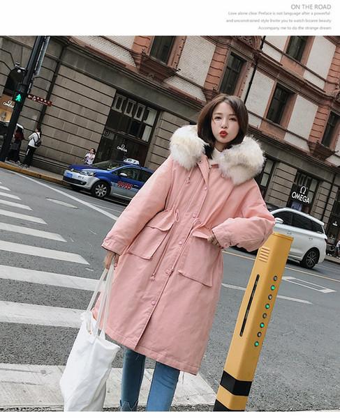2018 neue Daunenjacke aus Baumwolle mit großer Verdickung, mittlerer Länge großer Pelzkragen lässig gepolsterte Jacke Dame 90127