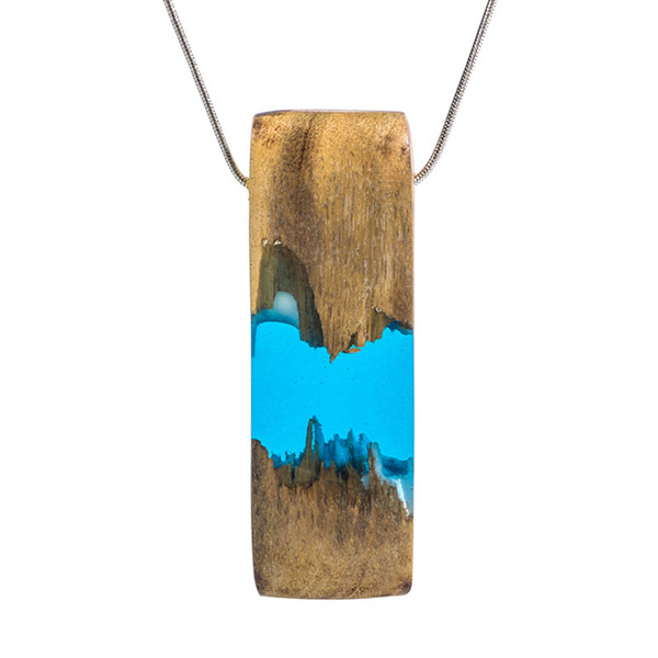 Fashion New Resin Wood Combination Geometric Rectangular Pendant Necklace Sweater Chain 5 Styles!
