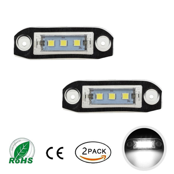 2Pcs Canbus LED License Plate Light for Volvo S80 XC90 S40 V60 XC60 S60 C70 V50 XC70 V70 White Car-Styling Number Lamp