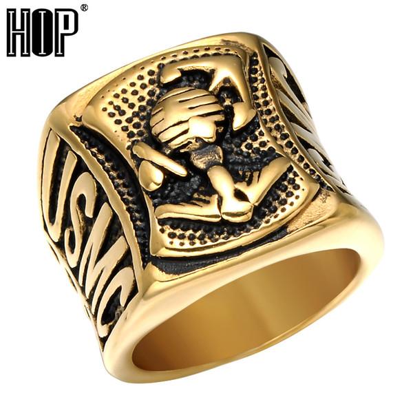 Punk hip-hop USMC US Custom Corps Marine Anello di ancoraggio Oro Argento Colore Acciaio inossidabile Chunky Mens Signet Rings Rock Jewelry