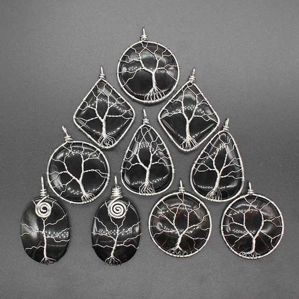 Natural Life Tree Wire Wrap Elliptical Water Drop Stone Obsidian Reiki Charms Wicca Amulet Fashion Jewelry