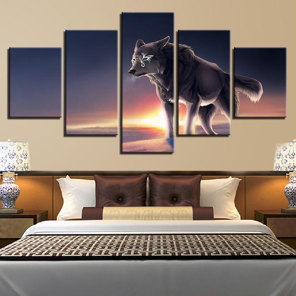 HD Imprime Modulaire Photos Salon Décor À La Maison Cadre 5 Pièces Bleu Yeux Gris Loup Toile Peintures Mur Art Animal Affiche