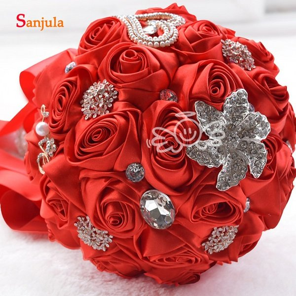İnciler Kristaller Ile kırmızı Gül Gelin Buketleri El yapımı Düğün Aksesuarı Ramos De Flores H004