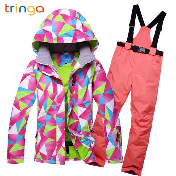 TRINGA 여성 스키 복 겨울 눈 스키 재킷 세트 야외 재킷 바지 단일 스키 의류 Windproof Thermal Snowboarding