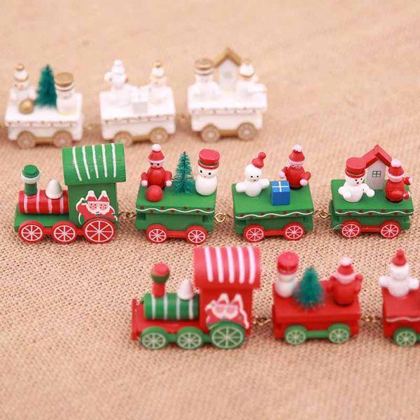 4pcs/set Wood Christmas Xmas Train Decoration Decor Gift Mini Christmas Train Wooden Train Model Vehicle Toys for Children Festival Gift