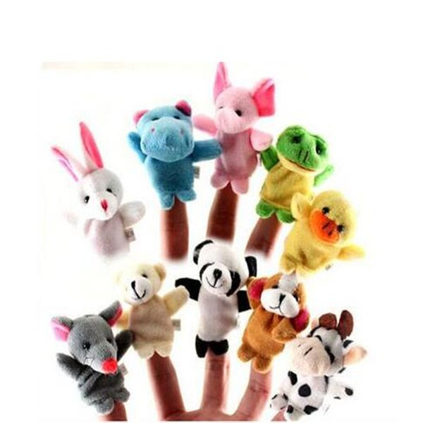 Animales Juguetes Marionetas de dedo Dibujos animados lindos 10pcs / lot Moda Nuevos juguetes de peluche para niños Marionetas de dedo Dedo Animal Cubierta doble Pequeño regalo