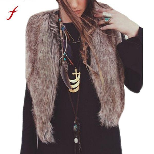 Feitong Women Vest Faux fur Sleeveless Coat Outerwear Long Hair Jacket Waistcoat casaco feminino 2017 autumn Crop Tops