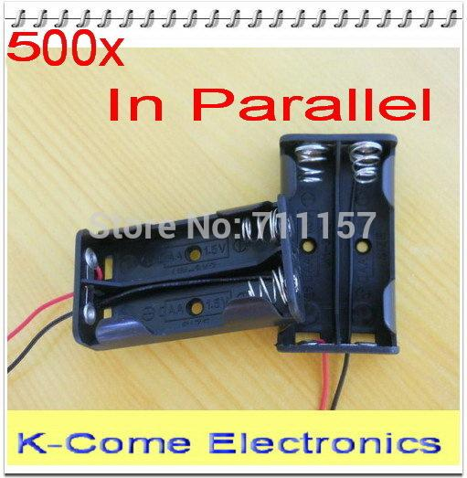Parallel Connection UM-3*2 Cell Battery Box Holder Case 2 X AA 2aa With 6 Inch Lead And Hole 2A