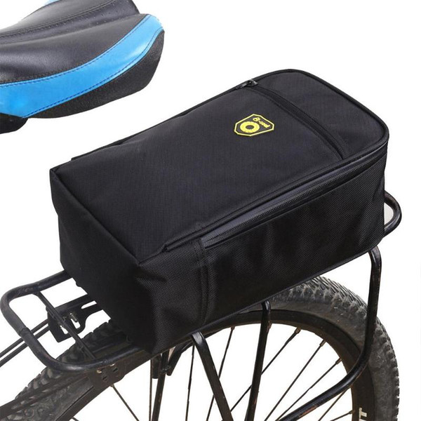 Splashproof Bicycle Back Seat Bag Road Bike Rack Back Rear Seat Tail Carrier Trunk Pouch Handbag with Light Black Pannier Bags