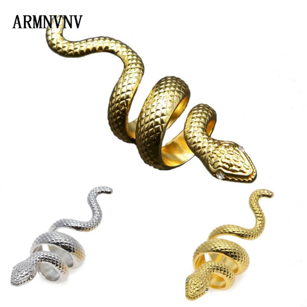 ARMNVNV Fashionable Gold Silver Color Decorative pattern Crystal Snake Shaped Woman Ring Top Quality Party Jewelry