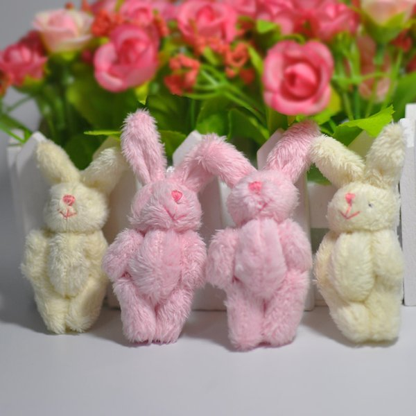 Hot Sale 5colors 6cm mini Joint Rabbit Plush Stuffed Wedding BOX toy doll Garment & Hair Accessories decor doll