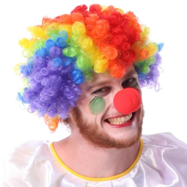 Halloween Masquerade Party Decoration Clown Colorful Rainbow Big Hair Red Nose Cheering Squads Fan Wig Party Cosplay CKI13