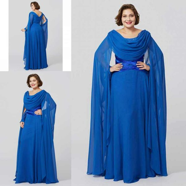 Elegant Mother Of The Bride Dresses Scoop Neck Chiffon Dresses Custom Made Plus Size Long Party Gowns