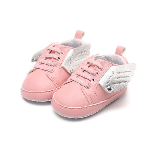 2018 baby shoes pink angel wings style shoes PU leather non-slip girls sneakers infant soft soled first walkers.