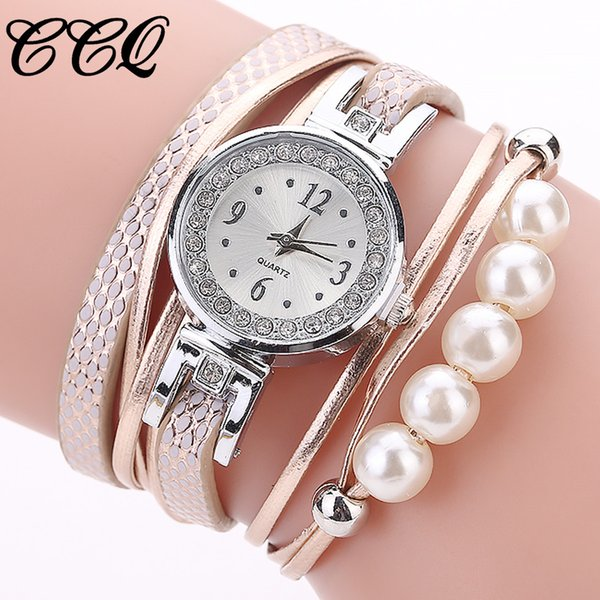 2018 Luxury Watches Women Rhinestone Pearl Quartz Leather Bracelet Watch Female Ladies Relojes mujer Clock Wristwatch #Z