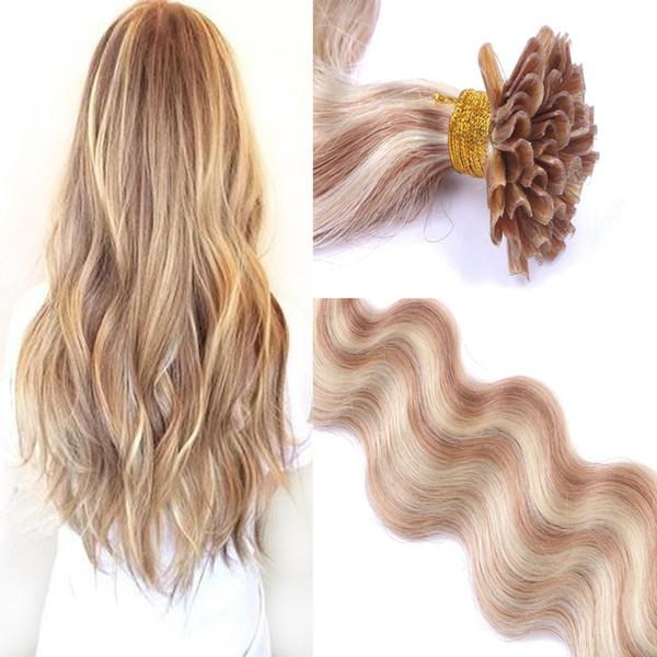 Body Wave Cabello humano Pre-adherido U-Tip Brasileño Virgin Hair 8-30 Inch Piano Color 27/613 # Extensiones de U-Tip para cabello humano