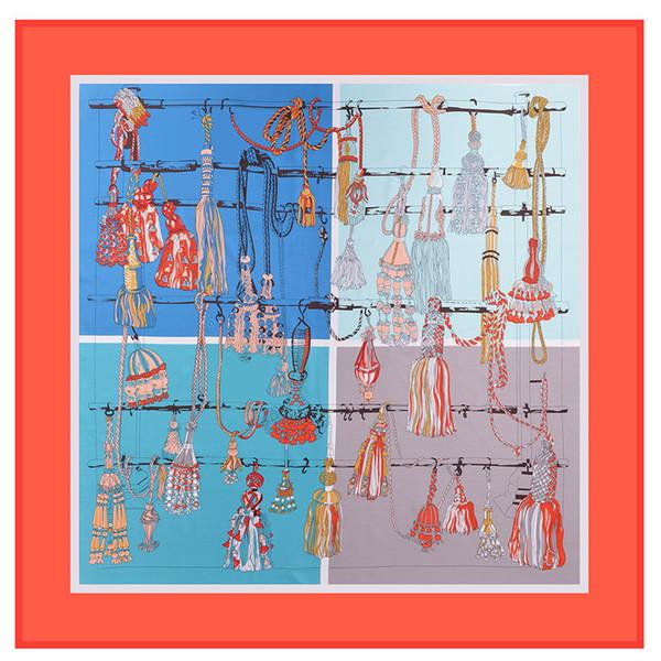 Orange Square Print Silk Shawls and Wraps Women Handmade Foulard Femme Tassel Twill Shawls Wholesale 130cm*130cm